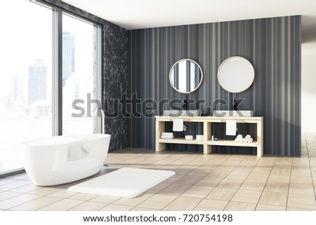 Loft Bathroom Interior With Black Marble And Wooden Walls A White Tub Double