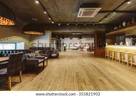 Loft cafe and meeting room interior design - stock photo