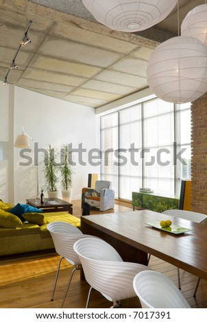 loft-dining room with living room - stock photo