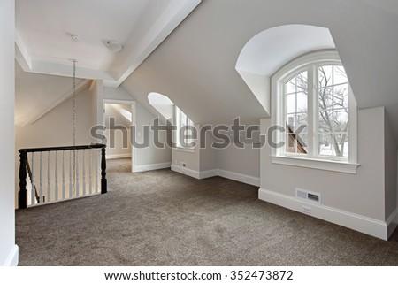 Loft in new suburban construction home - stock photo