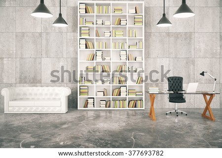 Loft interior with a library and a work desk and a white leather sofa 3D Render - stock photo