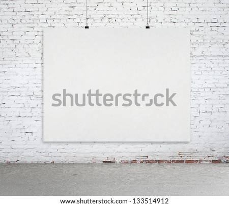 loft interior with paper card - stock photo