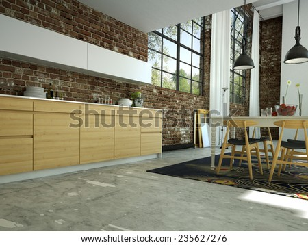 loft kitchen in open space with a brick wall.3d rendering - stock photo