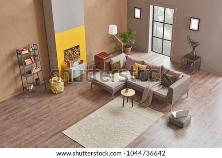 Modern Interieur Wit : Loft living room modern home design stock photo royalty free
