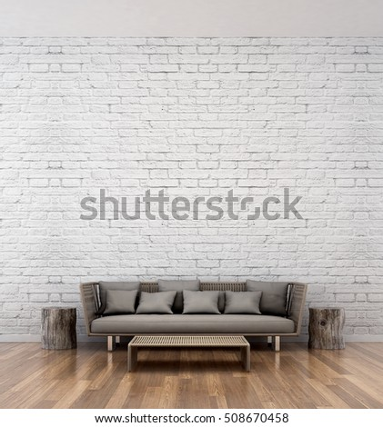 brick living room furniture. Loft Living Room Area And White Brick Wall Texture Furniture