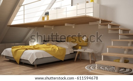 Loft mezzanine scandinavian minimalist bedroom, gary and yellow classic  interior design, 3d illustration