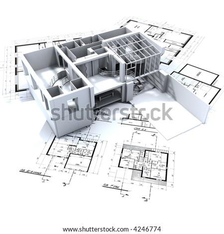 Loft mock-up on top of architecture blueprints - stock photo
