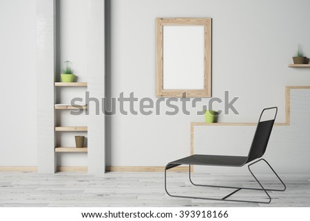 Loft room interior with grey concrete walls, empty picture frame and long black chair. Mock up, 3D Render - stock photo