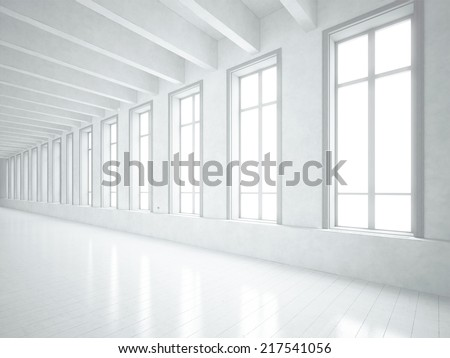 Loft space with white concrete walls  - stock photo