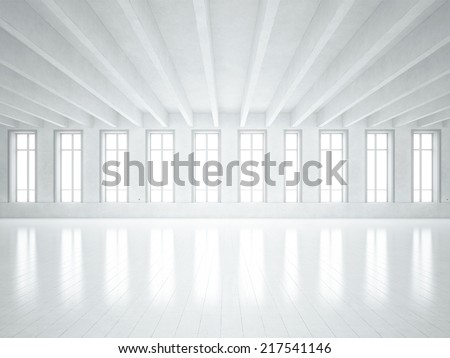 Loft space with white walls - stock photo