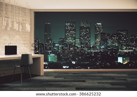 Loft studio design with panoramic window and night city view. 3D Render - stock photo