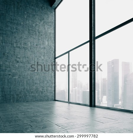 Loft windows and the city. 3d render - stock photo