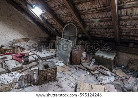 loft with junk in old house