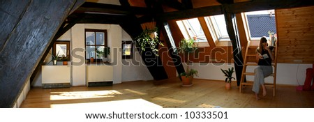 loft wooden floor bedroom - stock photo