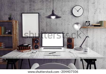 Loft workspace - stock photo