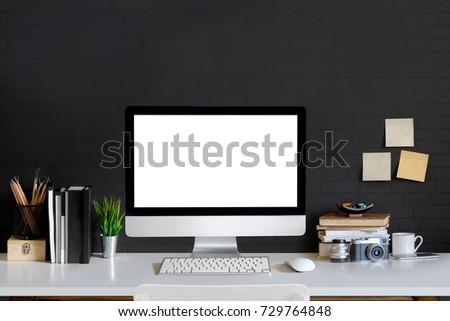 Schon Loft Workspace Concept. Mock Up White Screen Modern Desktop Computer And  Books, Minimal Stuff