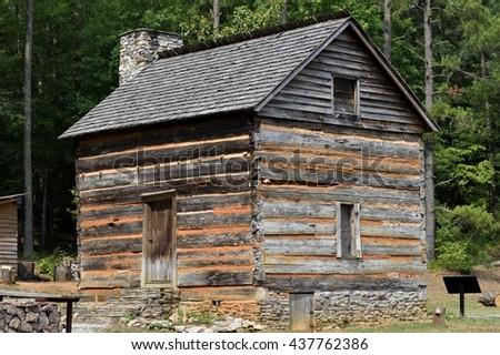Log cabin fort built buy settlers in 1792 at rural Georgia, USA. - stock photo
