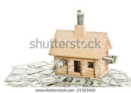 Log cabin full of money. Isolated on a white background. - stock photo