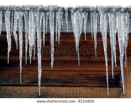 Log Cabin Icicles - stock photo