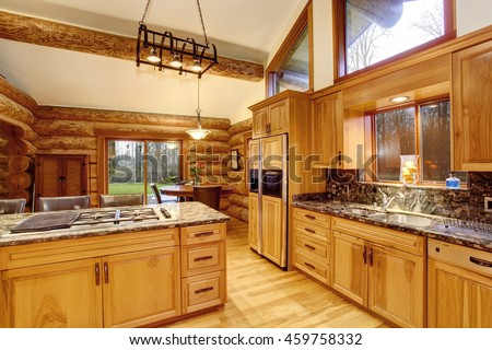 Wood cabin inside stock images royalty free images for Interior log storage