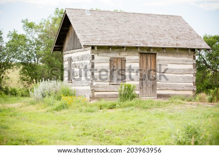Log Cabin - This is a shot of a little log cabin sitting alone surrounded by tall prairie grass. Shot with a shallow depth of field. - stock photo