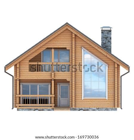 log house facade on white background - stock photo
