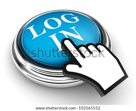 log in blue button and cursor hand on white background. clipping paths included - stock photo