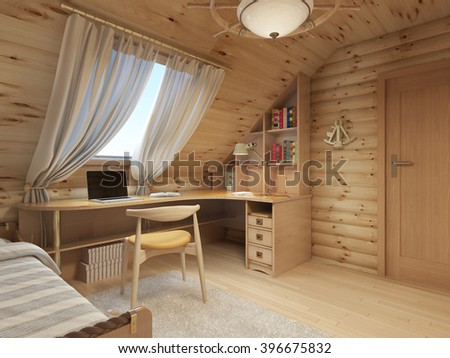 Log interior room for a teenager from the timber in a marine style and decor. Shelving for books with a work desk and a bed of wood. 3D render. - stock photo