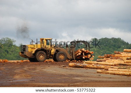Log loader working a lumber mill logging truck receiving yard in Roseburg Oregon