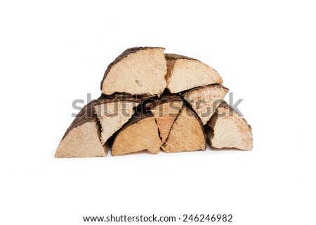 log pile of dried hard wood, white background, isolated,