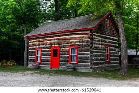 log shack in the Canadian countryside; - stock photo