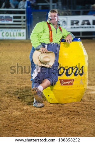 LOGANDALE , NEVADA - APRIL 10 : Rodeo Clown performing in the Clark County Fair and Rodeo a Professional Rodeo held in  Logandale Nevada , USA on April 10 2014  - stock photo