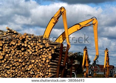 Logging cranes transporting cut logs - stock photo