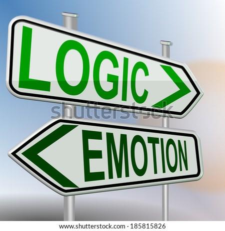 logic emotion directional sign - stock photo