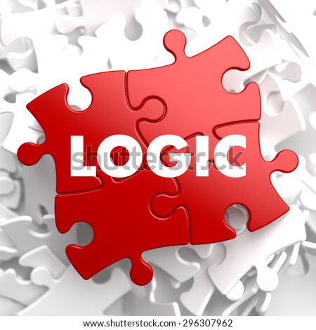 Logic on Red Puzzle on White Background. - stock photo