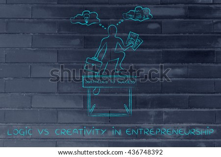logic vs creativity in entrepreneurship: businessman overcoming obstacle by elaborating imaginative thoughts (right side of his brain) and analytical reasonings (his left side)