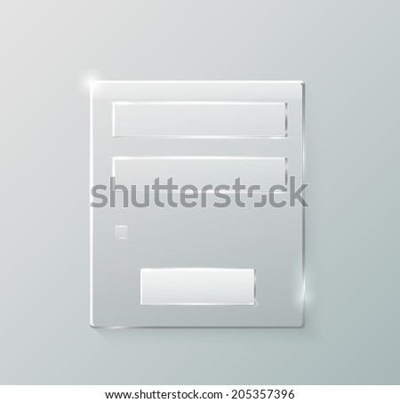 Login and register web glossy form empty. Modern glossy web card login form. Raster version - stock photo