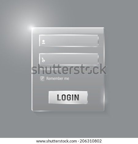 Login and register web glossy form. Modern glossy web card login form. Raster version - stock photo