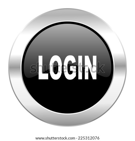 login black circle glossy chrome icon isolated  - stock photo