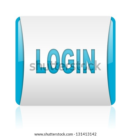 login blue and white square web glossy icon - stock photo