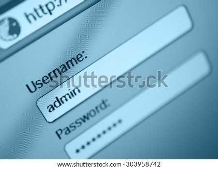 Login Box - Username - Admin and Password in Internet Browser on Computer Screen - Shallow Depth of Field - stock photo