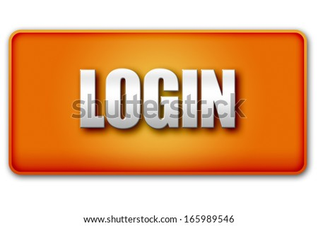Login 3D orange button isolated on white background - UI interface website design element - stock photo