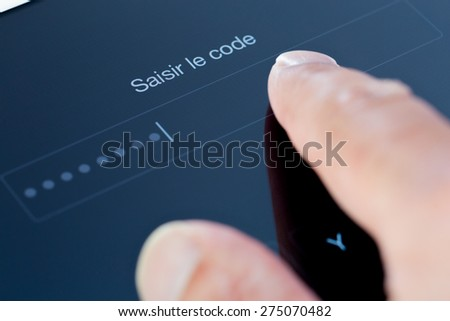 "Login form : ""input your password"" in french language - stock photo"