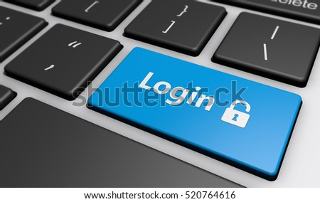 Login icon and sign on a computer keyboard button web security concept 3d illustration.