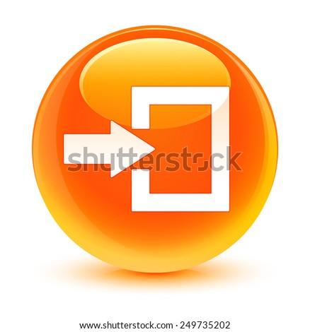 Login icon glassy orange button - stock photo