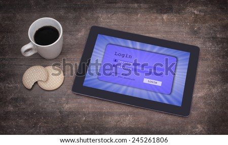 Login interface on tablet - username and password, blue - stock photo