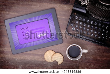 Login interface on tablet - username and password, purple - stock photo