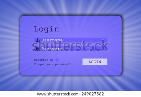Login interface - username and password, starburst background, blue