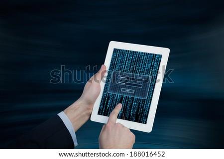 Login process, hands, tablet. - stock photo