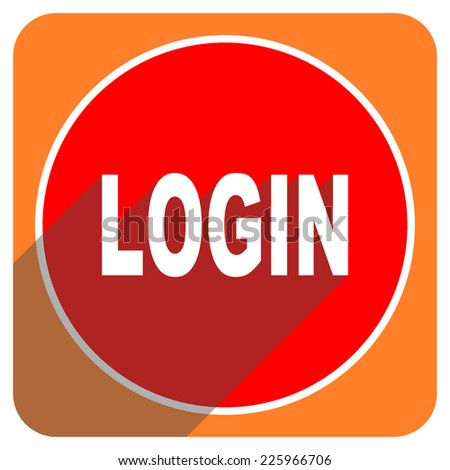 login red flat icon isolated  - stock photo